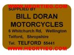Bill Doran Motorcycles Telford Dealer Decals Transfers  DDQ53